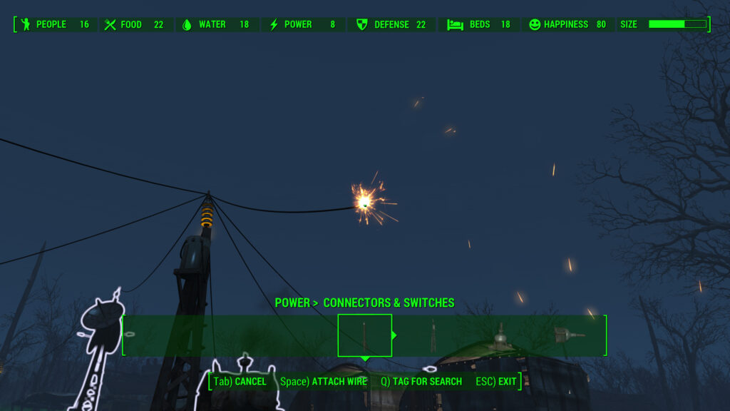 fallout 4 settlement power wiring device to generator direct wiring