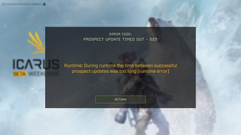 icarus third beta weekend prospect update timed out