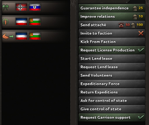 The diplomacy screen between Germany and Italy in Hearts of Iron IV.